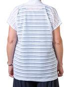 Cap Sleeve Sheer Stripe Cardigan, White, original image number 1