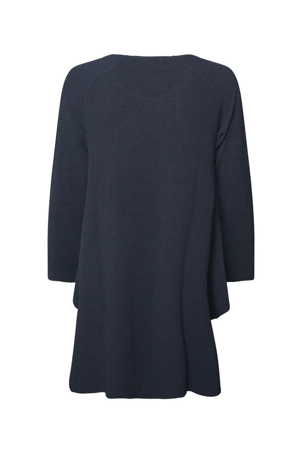 Crew Neck Texture Knit Tunic Top with Pockets, Navy, original image number 1