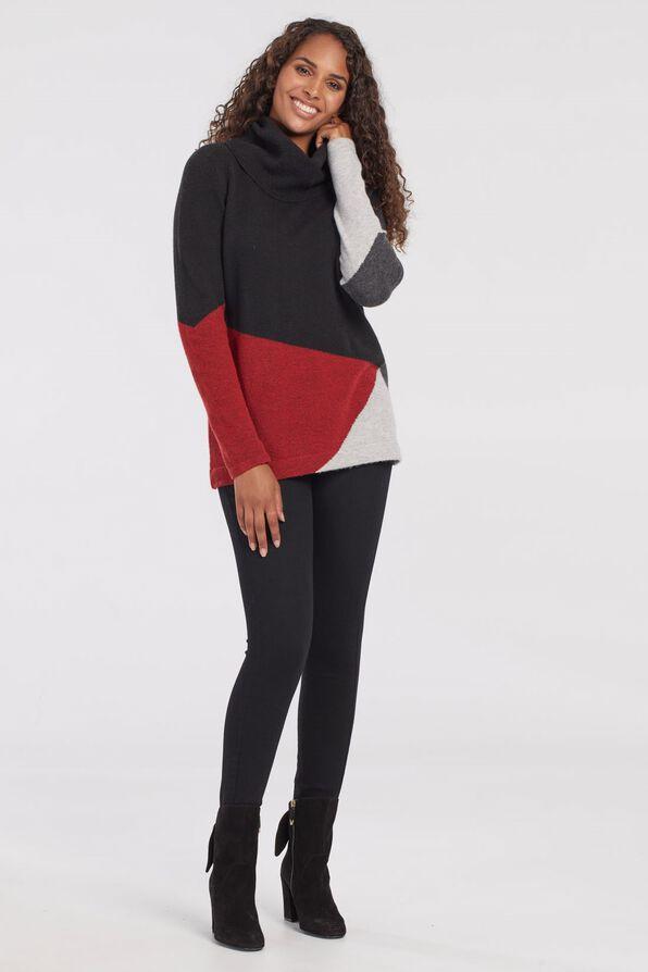 Talia Colour Block Sweater, Red, original image number 2