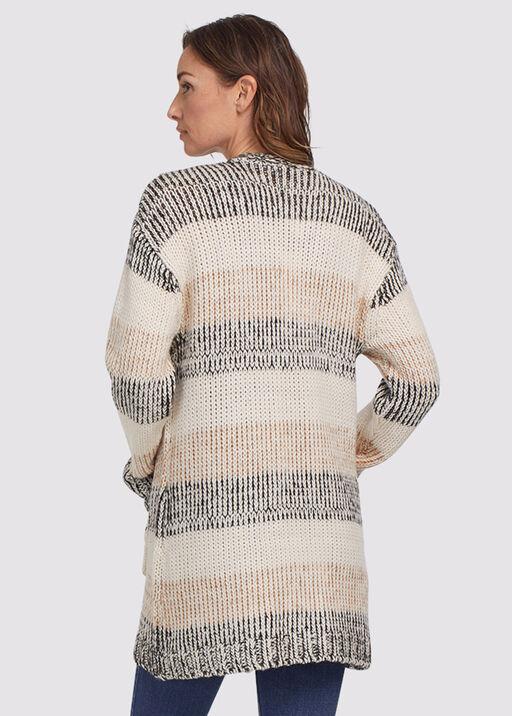 Coffee Stripped Sweater Cardi, Tan, original