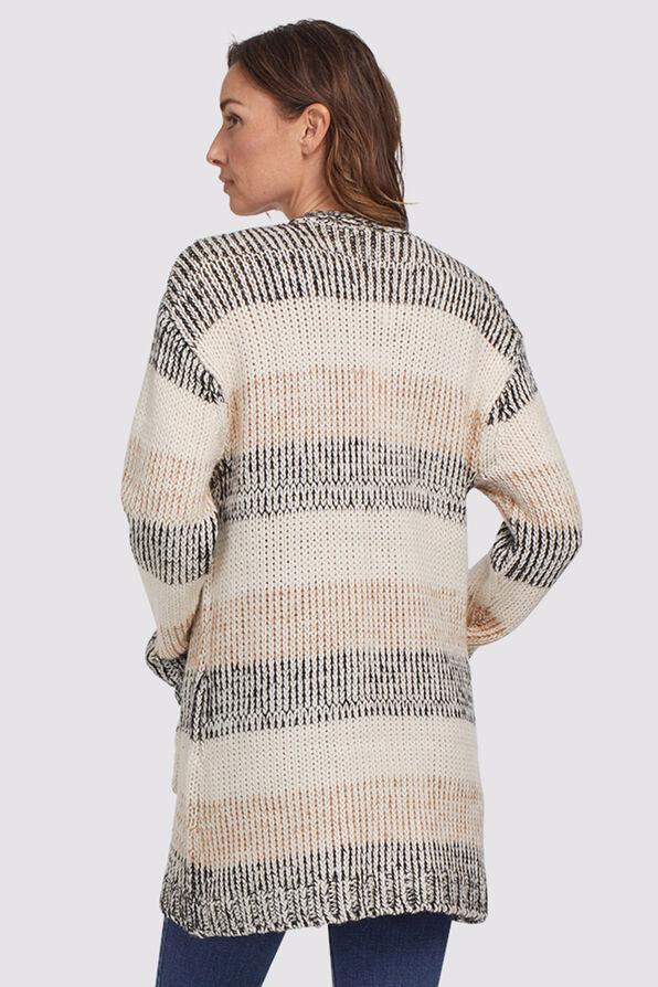 Coffee Stripped Sweater Cardi, Tan, original image number 1