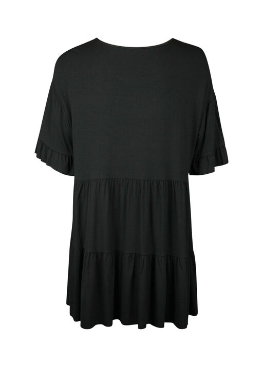 Peasant Tunic with Ruffle Sleeve, Black, original