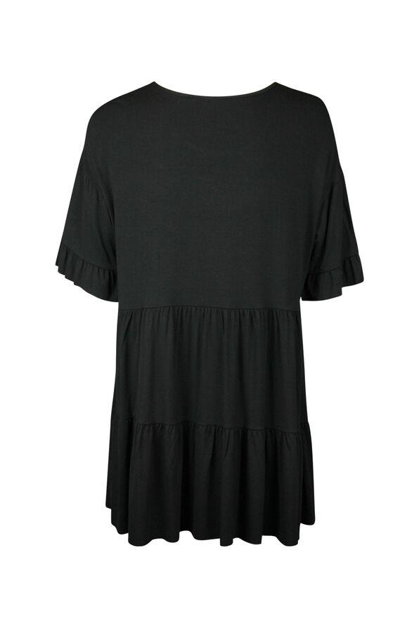 Peasant Tunic with Ruffle Sleeve, Black, original image number 1