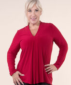 Solid Stretch Knit Top, , original image number 2