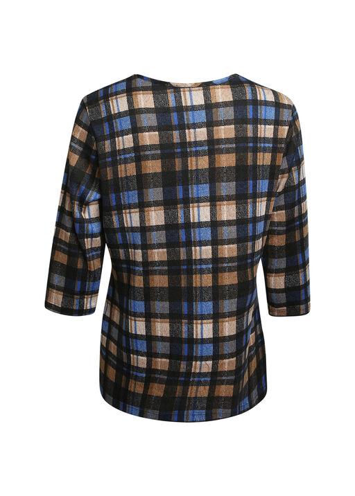 Plaid V-Neck 3/4 Sleeve Top, Black, original