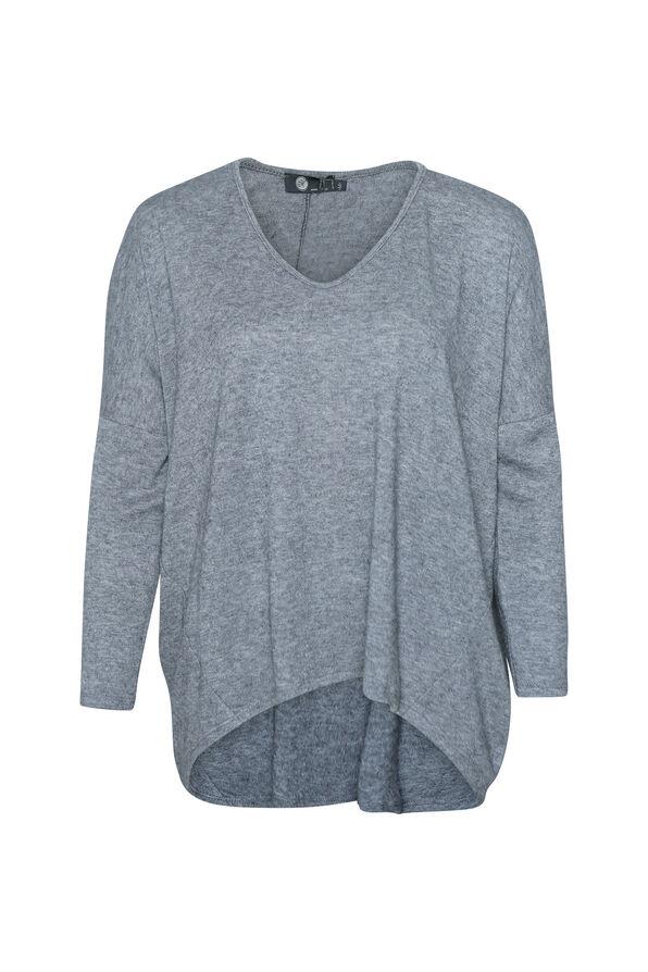Hi-Lo Long Sleeve Top with Drop Shoulder , , original image number 0