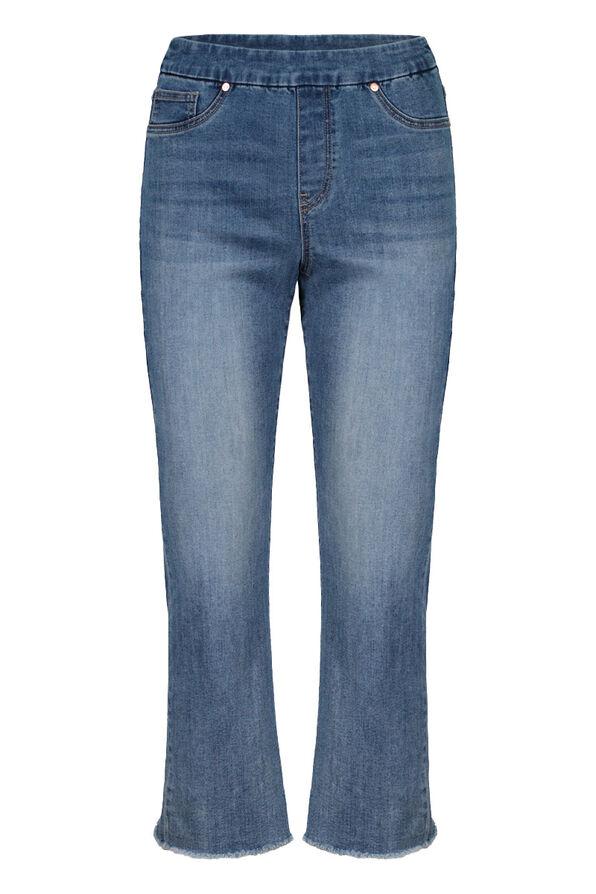 Pull-On Cropped Denim Pant, Denim, original image number 0