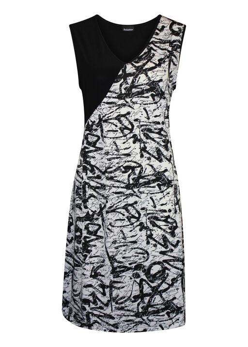 Sleeveless Dress with Side Gather, Black, original