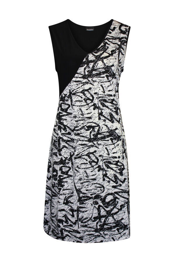 Sleeveless Dress with Side Gather, Black, original image number 0