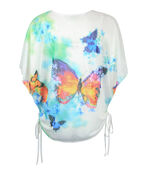 Butterfly Print Overlay Top with Side Ties, Multi, original image number 1