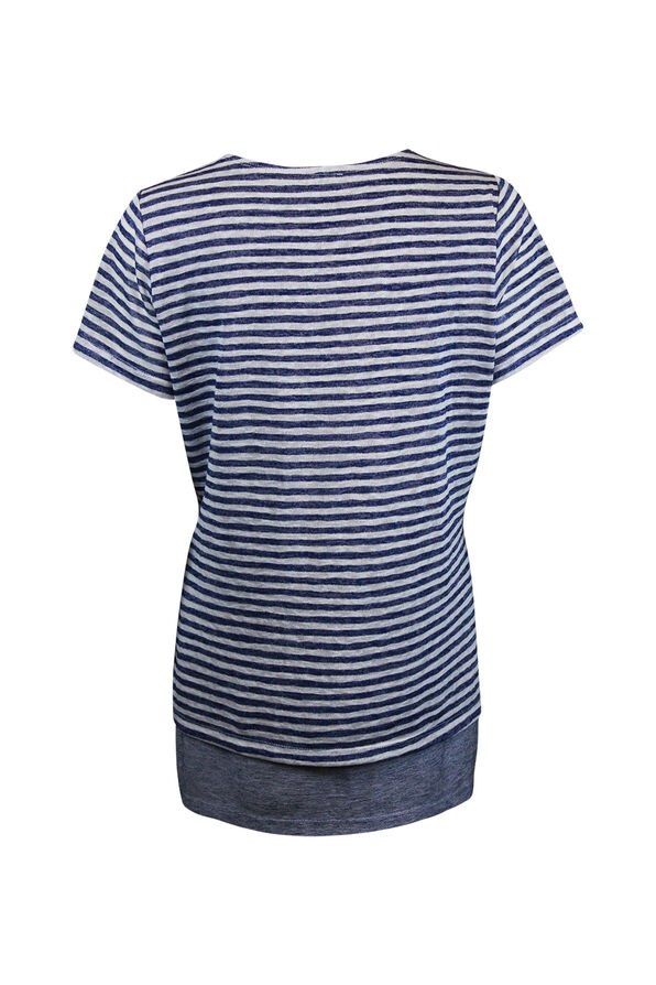Striped Short Sleeve Top Layered with Split Front, Navy, original image number 1