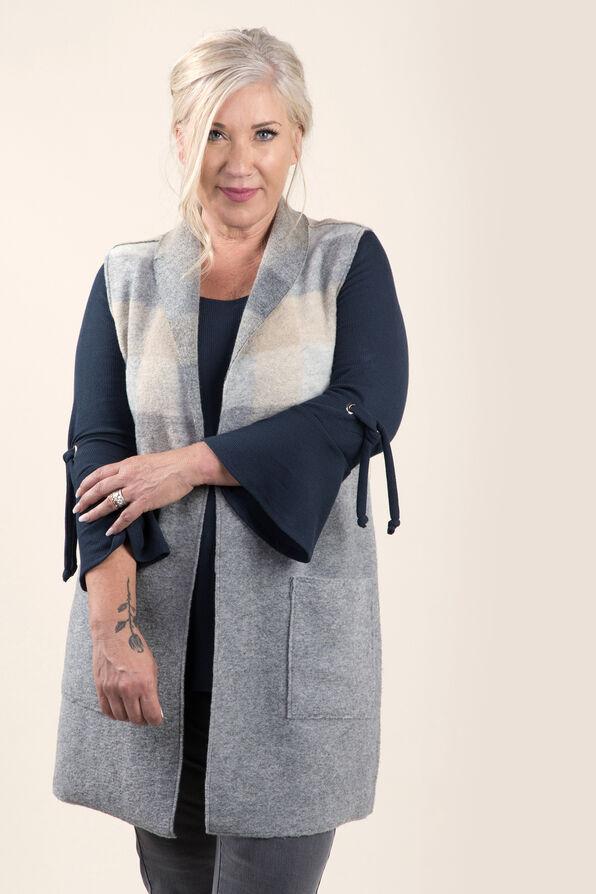 Longer Woolen Vest with Patch Pockets, Grey, original image number 3