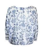 Floral Print Loose Weave Sweater , Navy, original image number 1