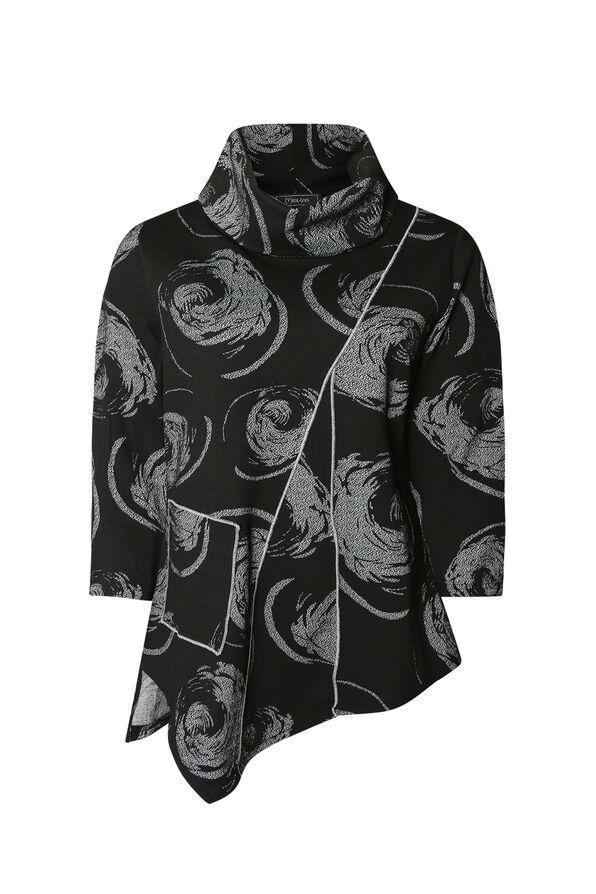 Swirl Cowl Neck Tunic, Black, original image number 0