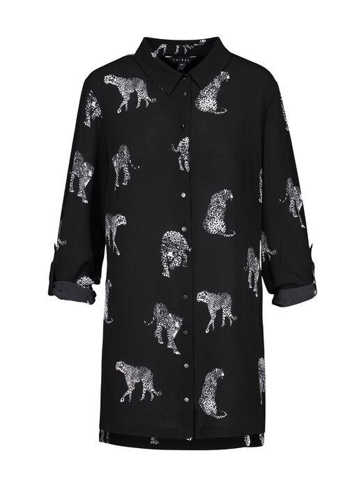 Leopard Print Crepe Blouse, Black, original