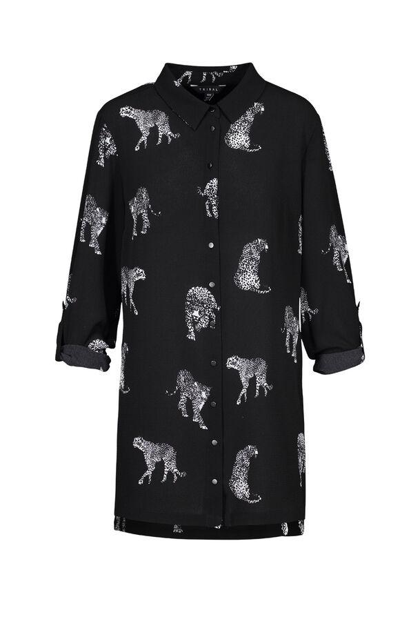 Leopard Print Crepe Blouse, Black, original image number 0