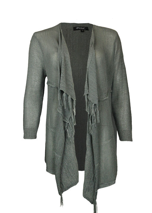 Drape Front Cardigan with Fringe, , original
