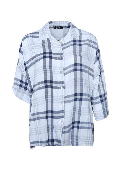 Plaid Button Up T-Shirt with Roll Tab Sleeve, , original