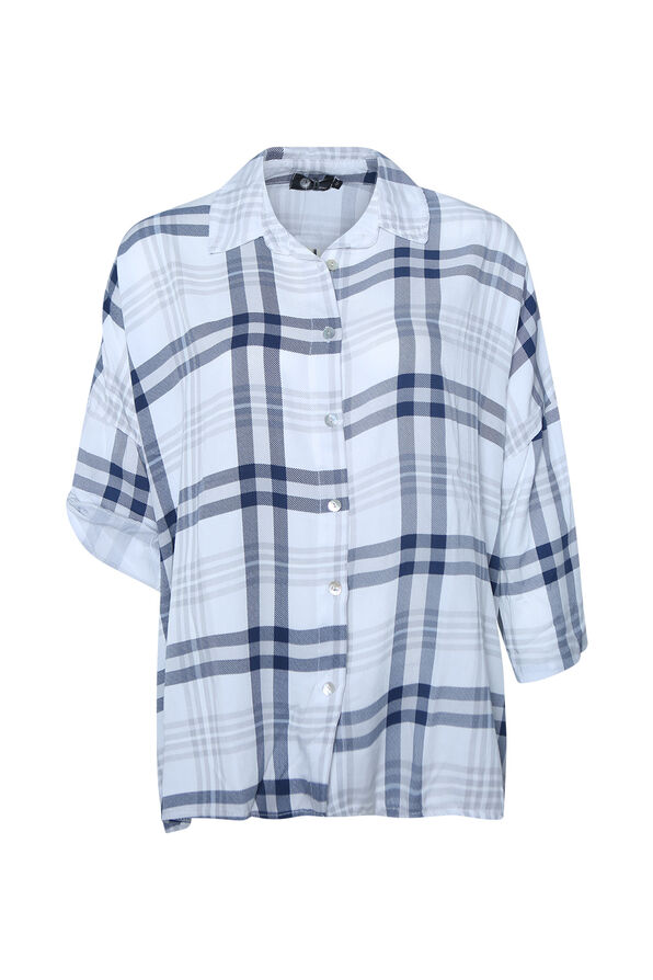Plaid Button Up T-Shirt with Roll Tab Sleeve, , original image number 1