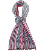 Metallic Stripe Rectangle Scarf W/Fringe, Pink, original image number 0