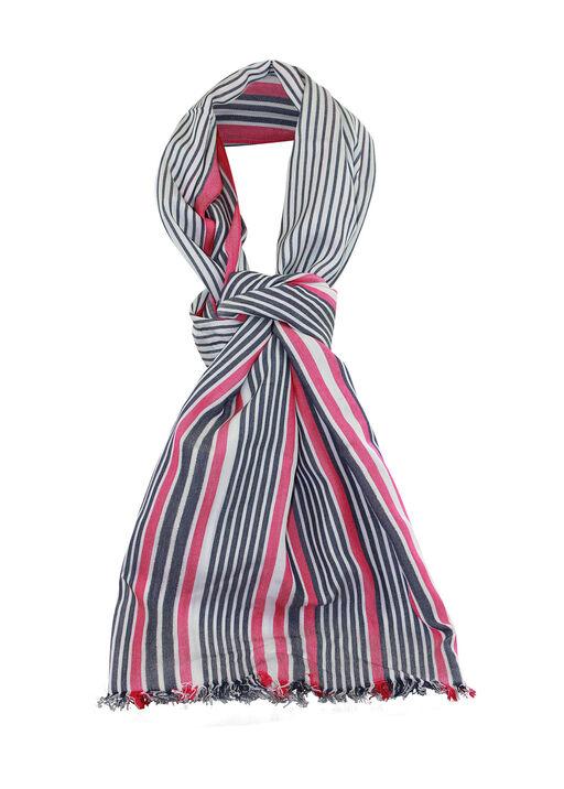 Metallic Stripe Rectangle Scarf W/Fringe, Pink, original
