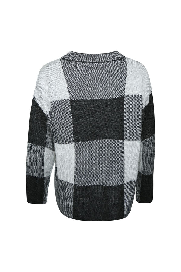 Checker Print Crew Neck Sweater, Grey, original image number 1