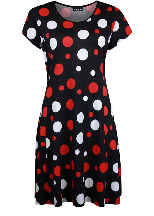 Short Sleeve Polka Dot Fit and Flare Dress , Black, original