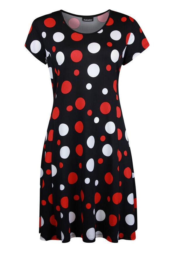 Short Sleeve Polka Dot Fit and Flare Dress , Black, original image number 0