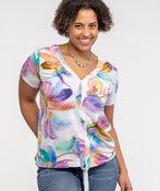 V Neck with Front Knot T-Shirt, Pink, original image number 0