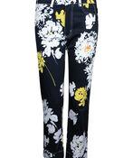 Floral Print 5 Pocket Crop Pant, Black, original image number 0