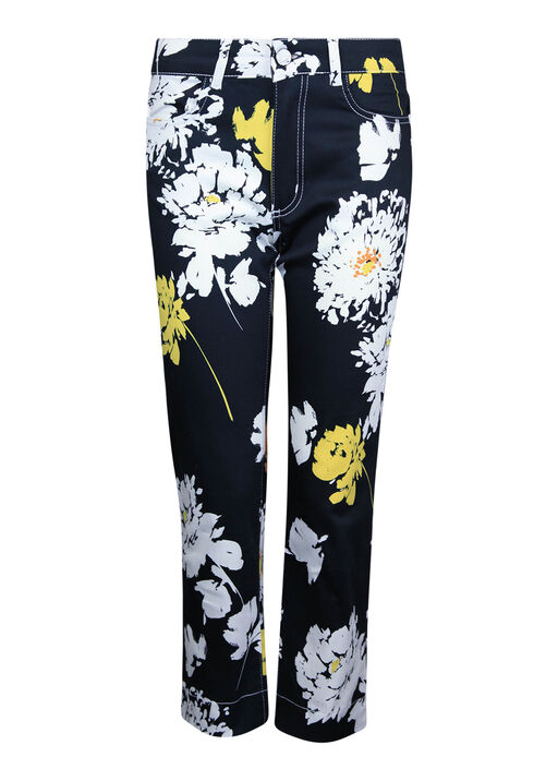 Floral Print 5 Pocket Crop Pant, Black, original