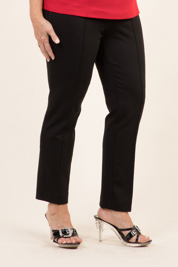 Lace Trim Trouser, Black, original image number 0