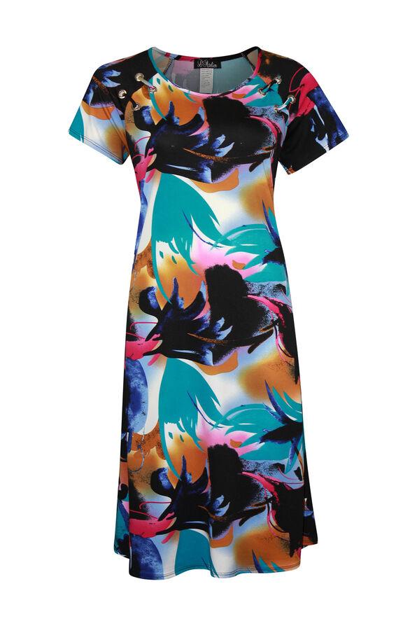 Short Sleeve Swing Dress with Grommet Laced Shoulder, Turquoise, original image number 0