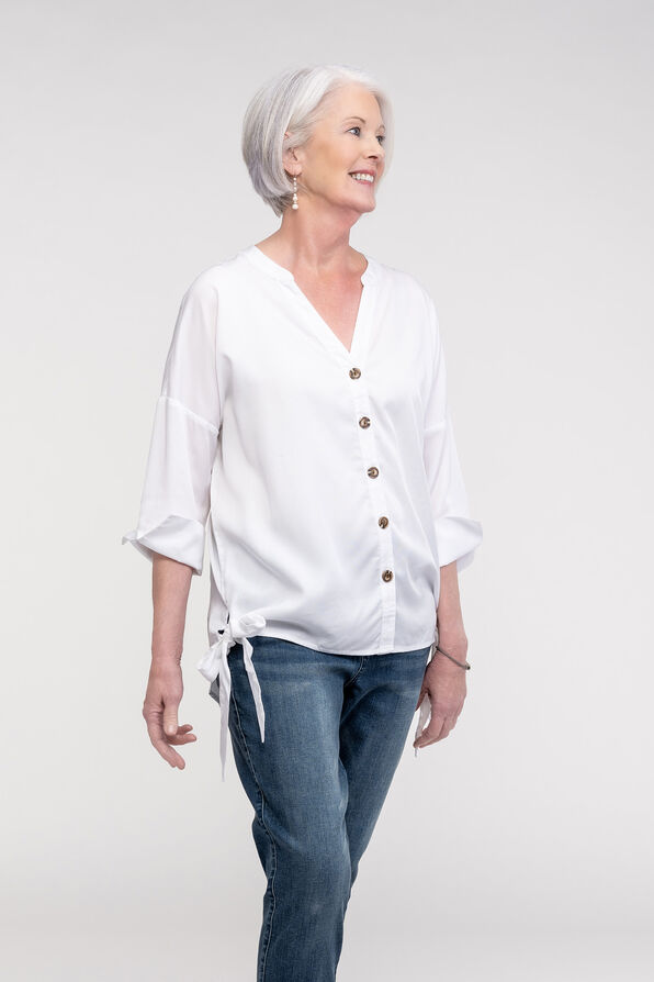 Button Front Blouse with Side Ties and 3/4 Sleeves, White, original image number 0
