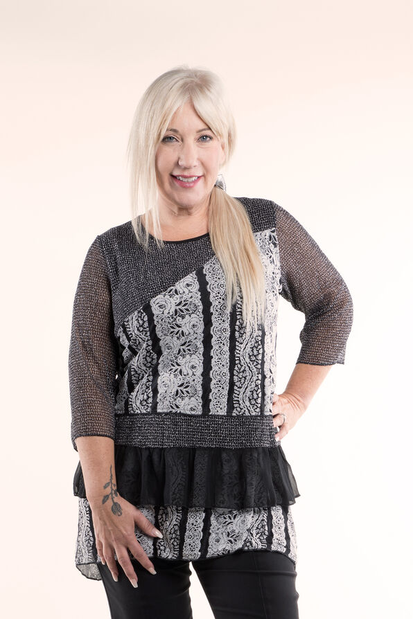 Funky Lace and Ruffle Tunic, Grey, original image number 2