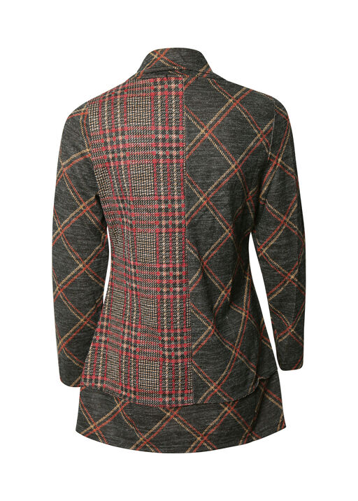 Plaid Tunic with Cowl Neck , Multi, original