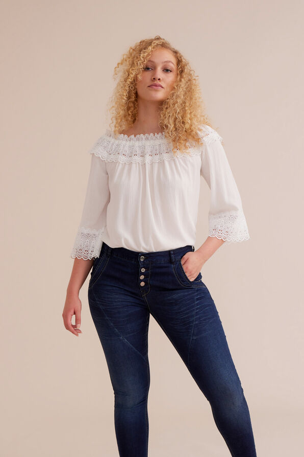 Cream Bea Lace Peasant Blouse, White, original image number 0