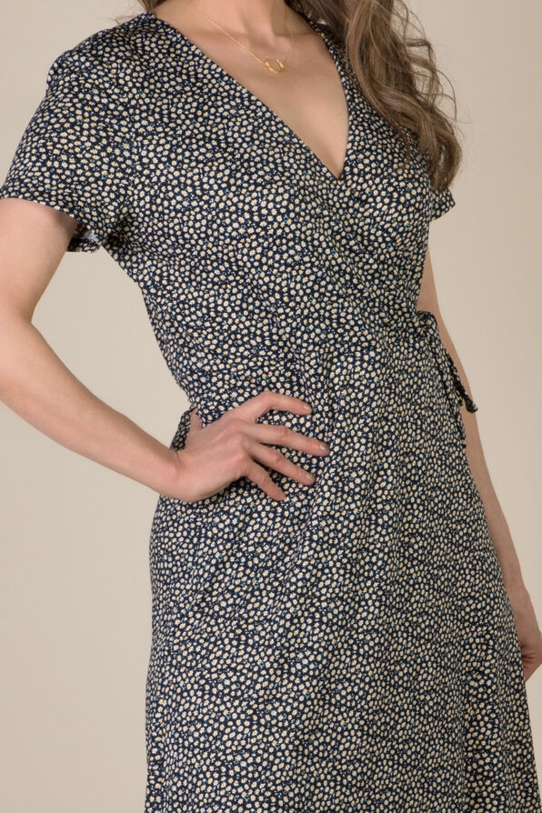Daisy Wrap Dress, Navy, original image number 1