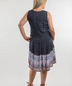 Madison Hi Lo Sleeveless Dress, Navy, original image number 1
