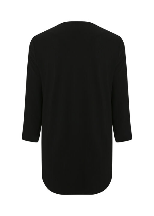Shawl Front Cardigan with Pleated Sleeve, Black, original