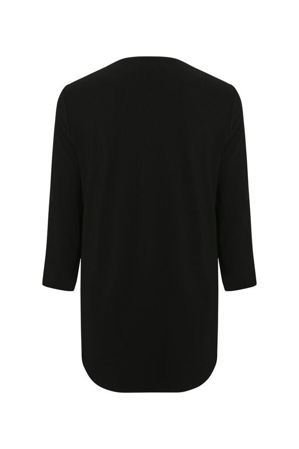 Shawl Front Cardigan with Pleated Sleeve, Black, original image number 1