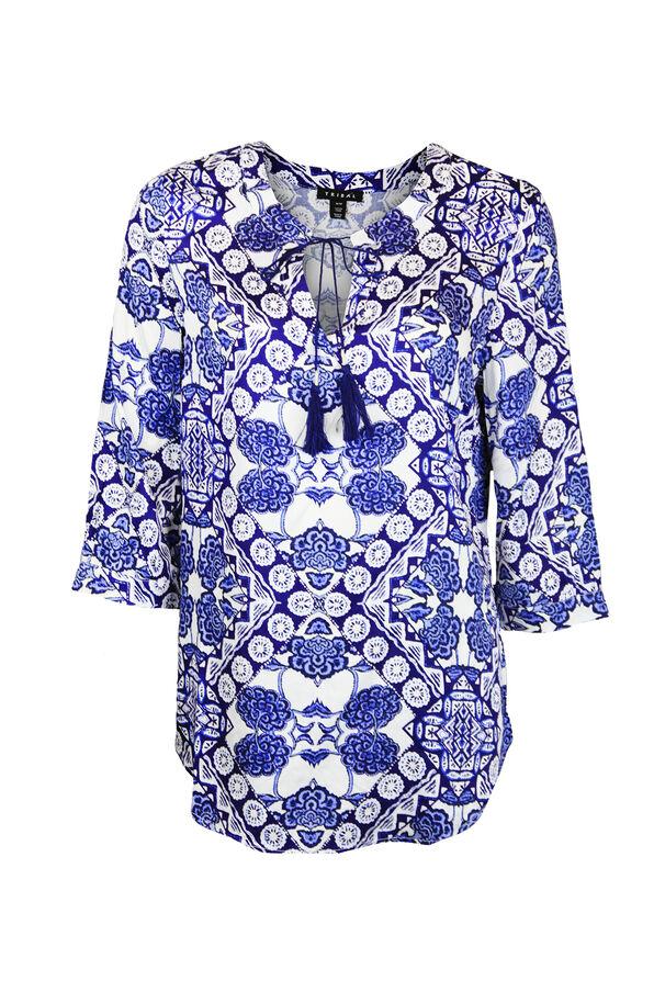 Printed 3/4 Sleeve Top with Tie Tassel, Blue, original image number 0