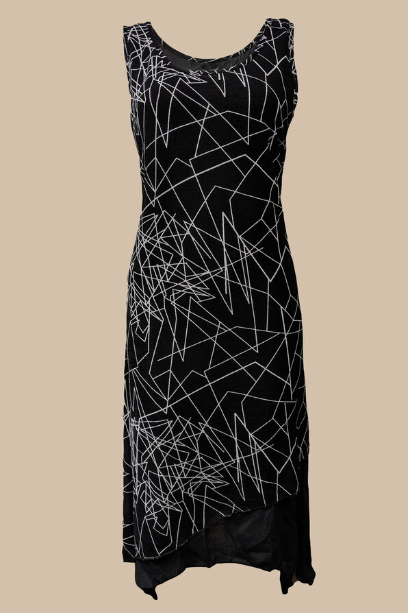 Geo Layered Dress, Black, original image number 0