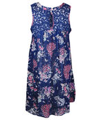 Lace and Floral Sleeveless Tunic, Navy, original image number 1