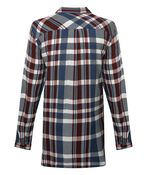 Plaid Button-down Tunic, Navy, original image number 1