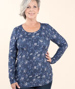 Top with Long Sleeves and Scoop neck, Indigo, original image number 0