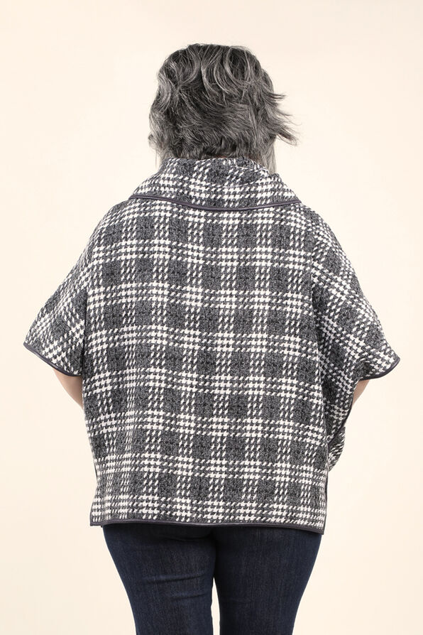 Plaid Poncho with Pleather trim, Charcoal, original image number 1