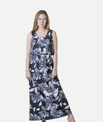 Sleeveless Maxi Dress with Keyhole Neckline, Navy, original image number 0