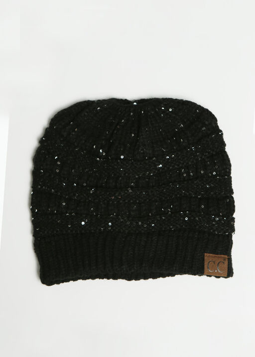 Messy Bun Sequin Beanie , , original