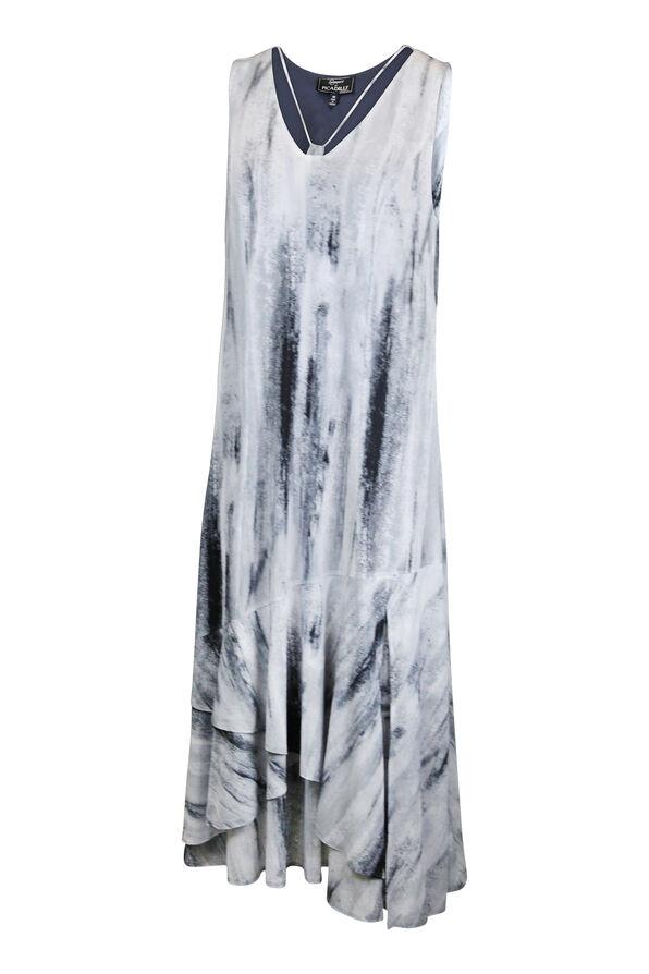 Sleeveless Midi Dress with Strappy Neckline, Grey, original image number 0